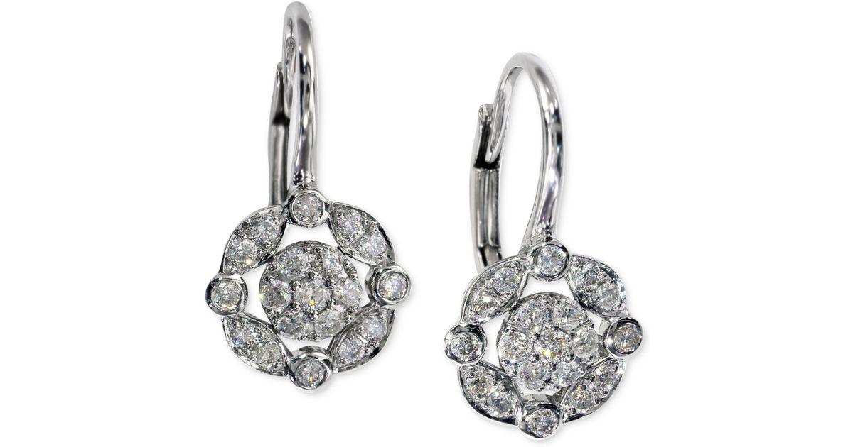 Lyst Effy Collection Diamond Drop Earrings 1 4 Ct T W In 14k White Gold Black