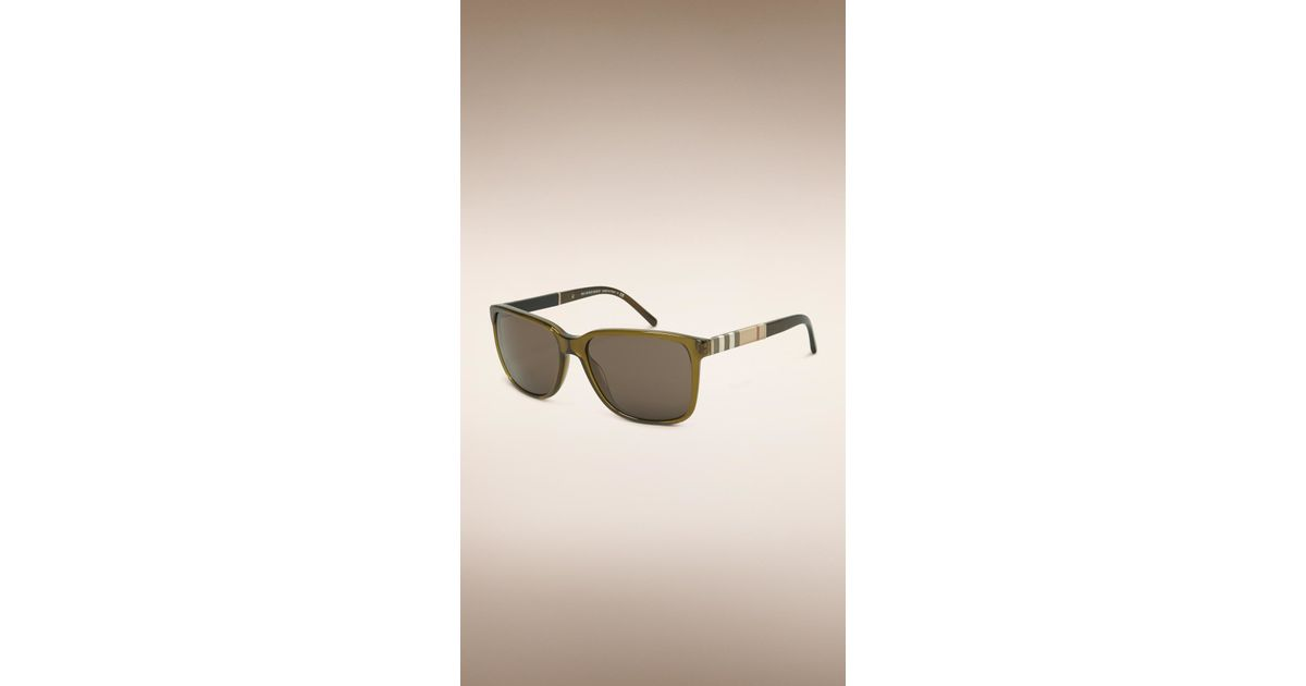 21ef4990f724 Lyst - Burberry Square Frame Check Detail Sunglasses in Green for Men
