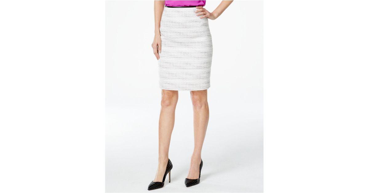 calvin klein faux leather trim tweed pencil skirt in
