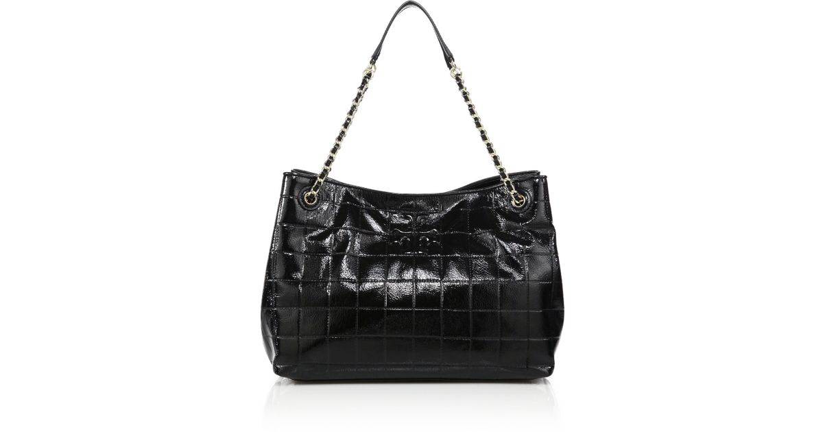 582327699c97 1234567 0a67c 31c14  ebay lyst tory burch marion quilted patent leather  chain shoulder bag in black 15e2c f1281