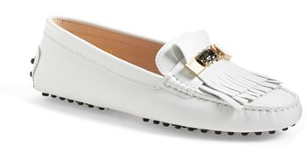 tod s fringed leather driving loafers in white lyst