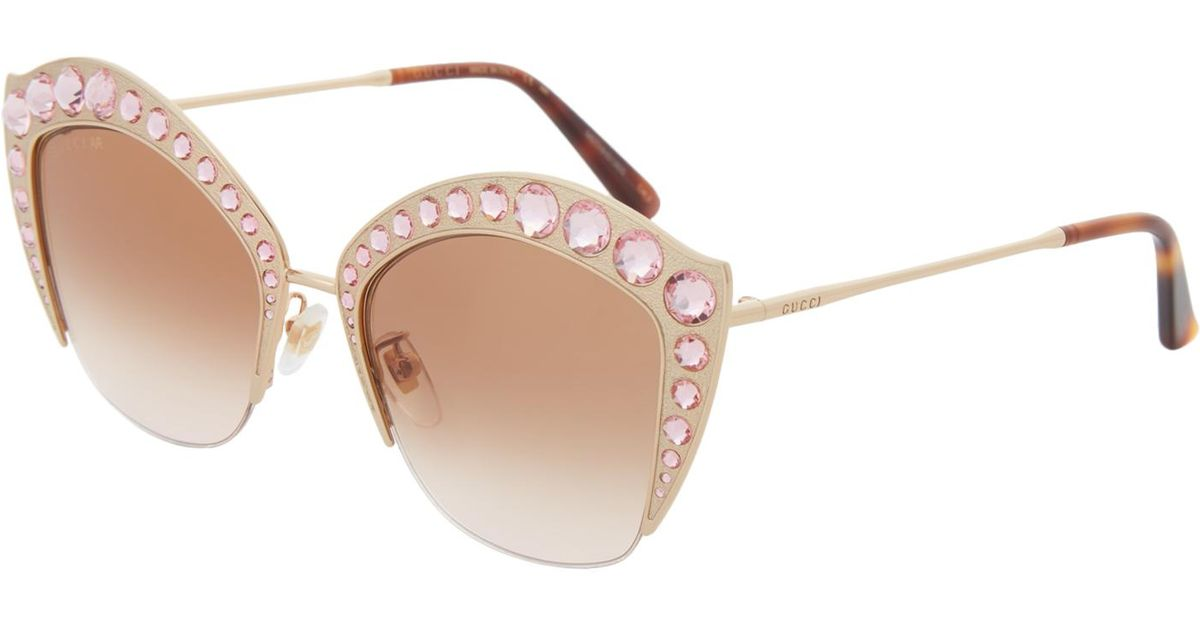 21fa9b2e26aec Lyst - Gucci GG 0114 s Gold-tone Cat-eye Sunglasses in White