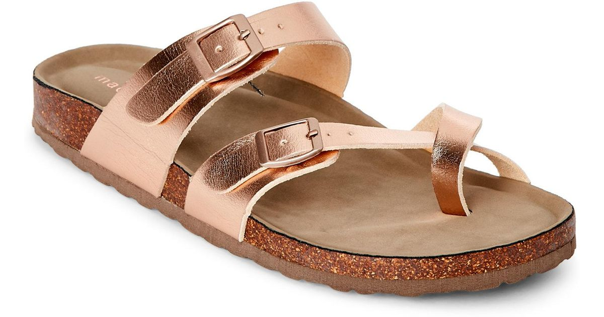 f792797bbc9 Lyst - Madden Girl Rose Gold Bryceee Footbed Sandals