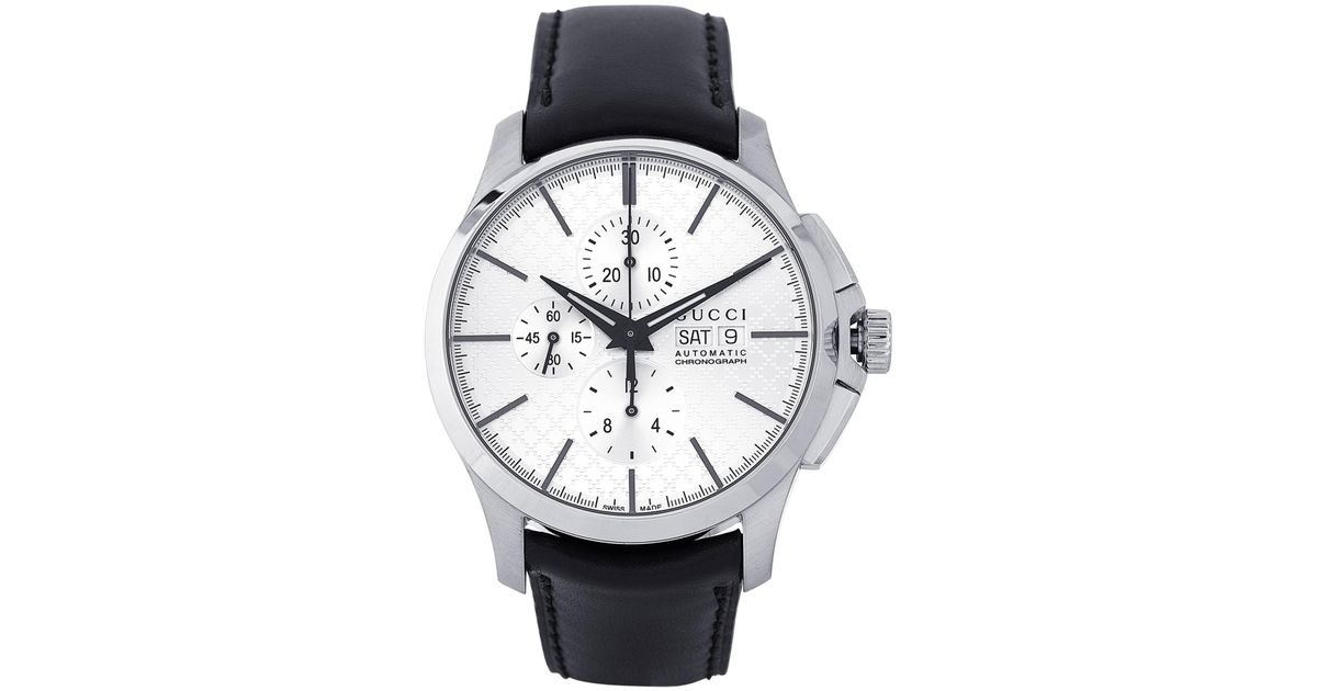 87cac5f9092 Lyst - Gucci Ya126265 Silver-tone   Black Automatic Chronograph G-timeless  Watch in White for Men