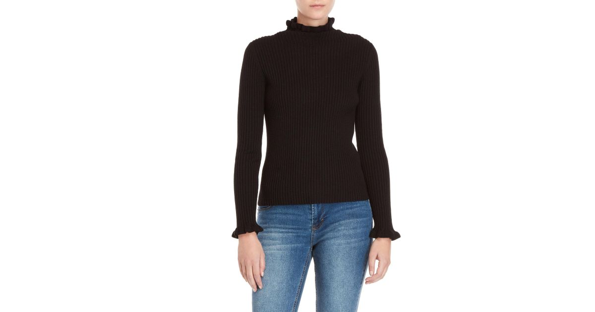 3e50f7156c8b Lyst - Endless Rose Ribbed Mock Neck Sweater in Black