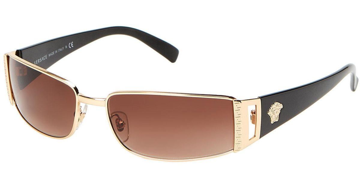 13e166589bee Lyst - Versace Ve2021 Gold-tone Wrap Around Sunglasses