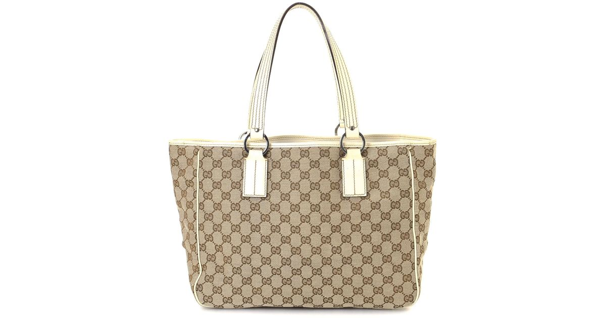 3464611772b6 Lyst - Gucci Canvas Tote - Vintage in Natural