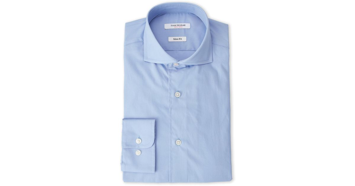 6e07bf60b Isaac Mizrahi New York Ice Blue Slim Fit Broadcloth Dress Shirt in Blue for  Men - Lyst