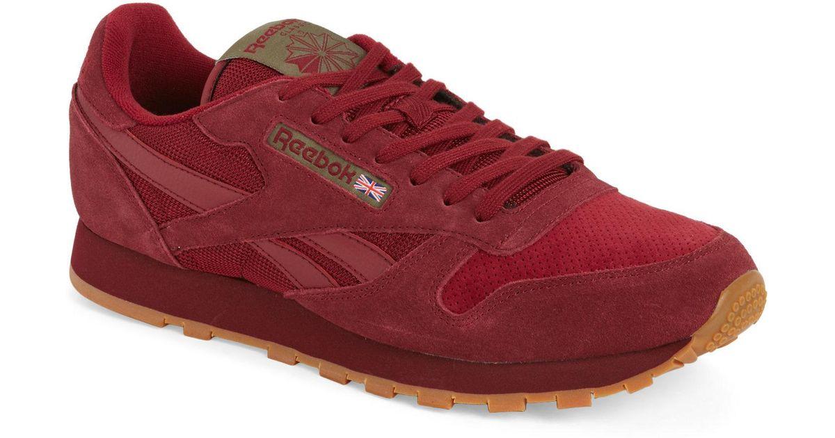 Lyst - Reebok Burgundy Classic Low Top Sneakers in Red for Men 4fac0046c