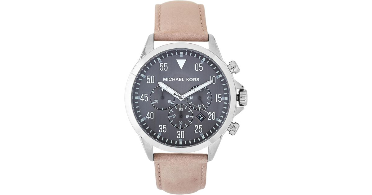 0e14f94214f9 Lyst - Michael Kors Mk8616 Grey   Beige Gage Leather Strap Watch in White  for Men