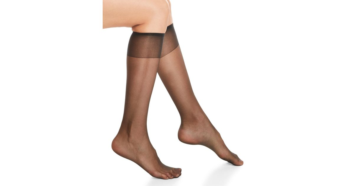 d4d70bd8e3a Lyst - Hanes Silky Sheer Sheer Toe Knee-highs in Black