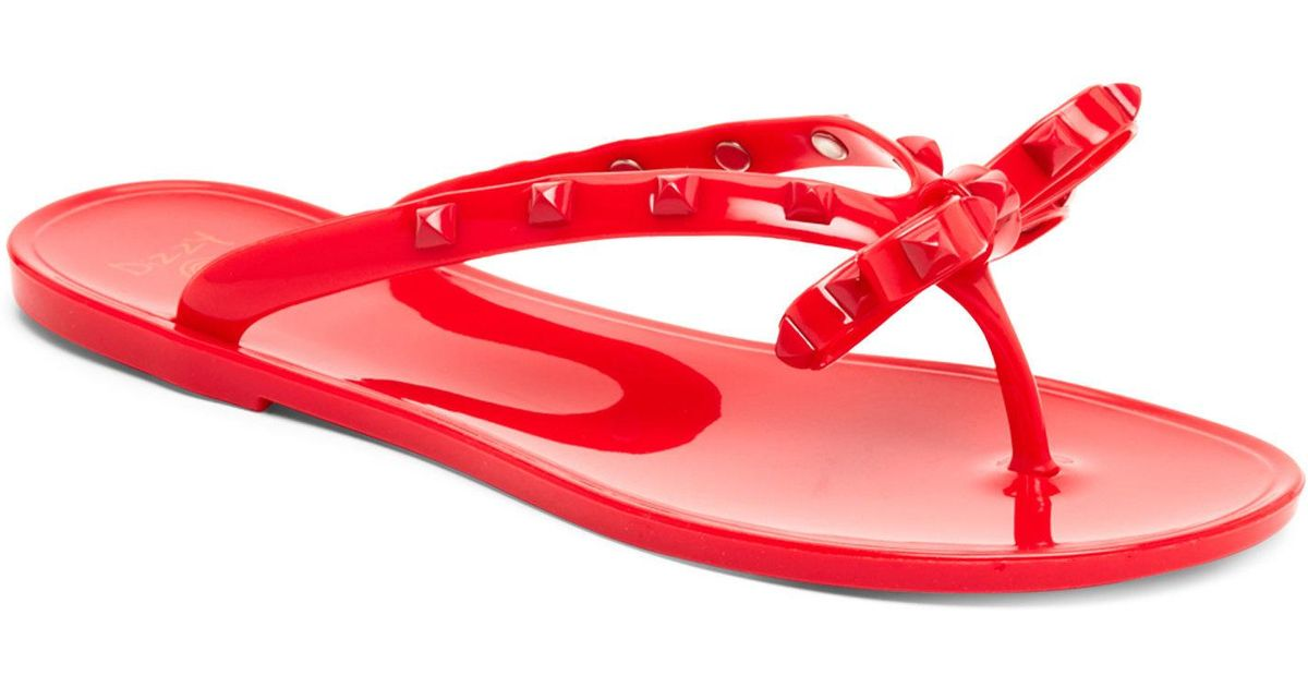 51326c9af0f826 Lyst - Dizzy Studded Jelly Flip-Flops in Red