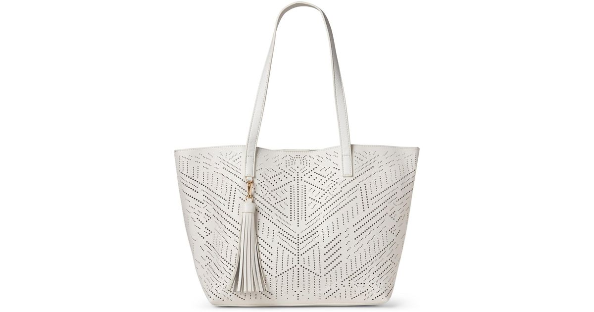 3952f095a4bfc3 Moda Luxe White Wanderlust Perforated Bag-in-bag Tote in White - Lyst