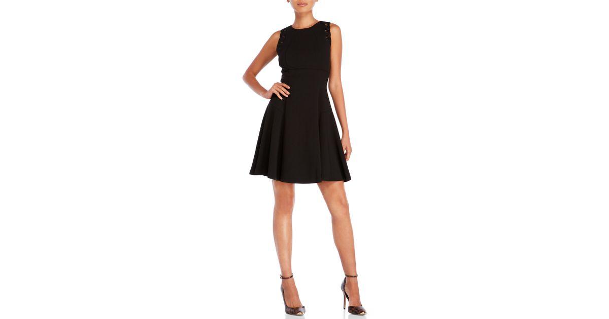 3963713db1c Lyst - Ivanka Trump Sleeveless Grommet Detail Fit   Flare Dress in Black