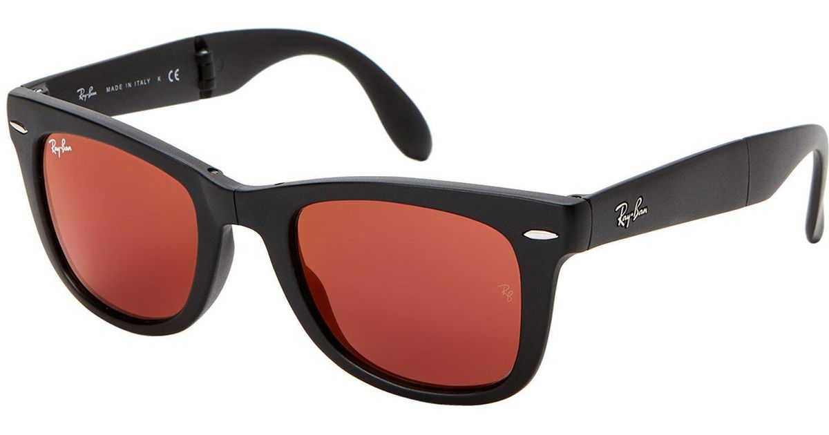 c184443556 Lyst - Ray-Ban Rb4105 Classic Wayfarer Foldable Sunglasses in Red for Men