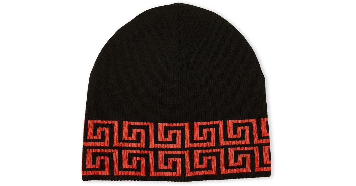 8d6918ec ... france lyst versace greek key print knit hat in red for men 27a4b 4c685