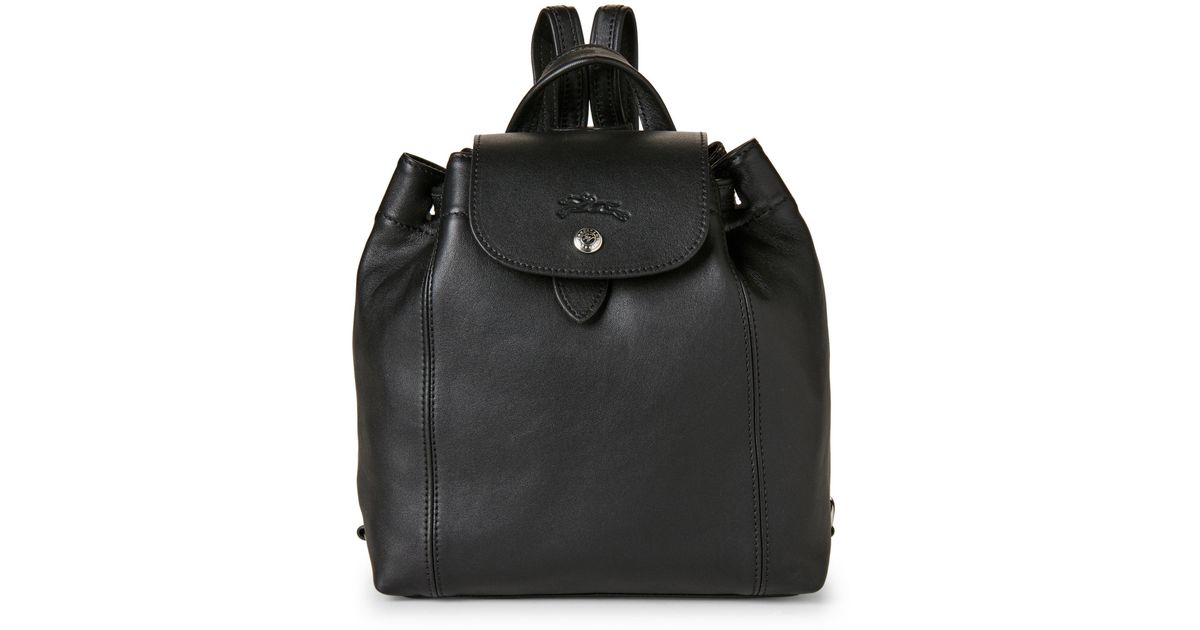 79bd00c6cf38 Lyst - Longchamp Black Le Pliage Cuir Backpack in Black