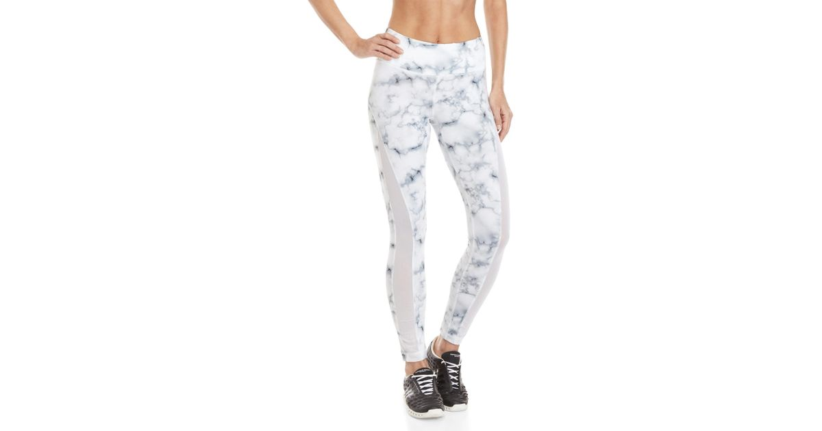 07e0121774eb6a 90 Degree By Reflex White Marble Mesh Insert Athletic Leggings in White -  Lyst