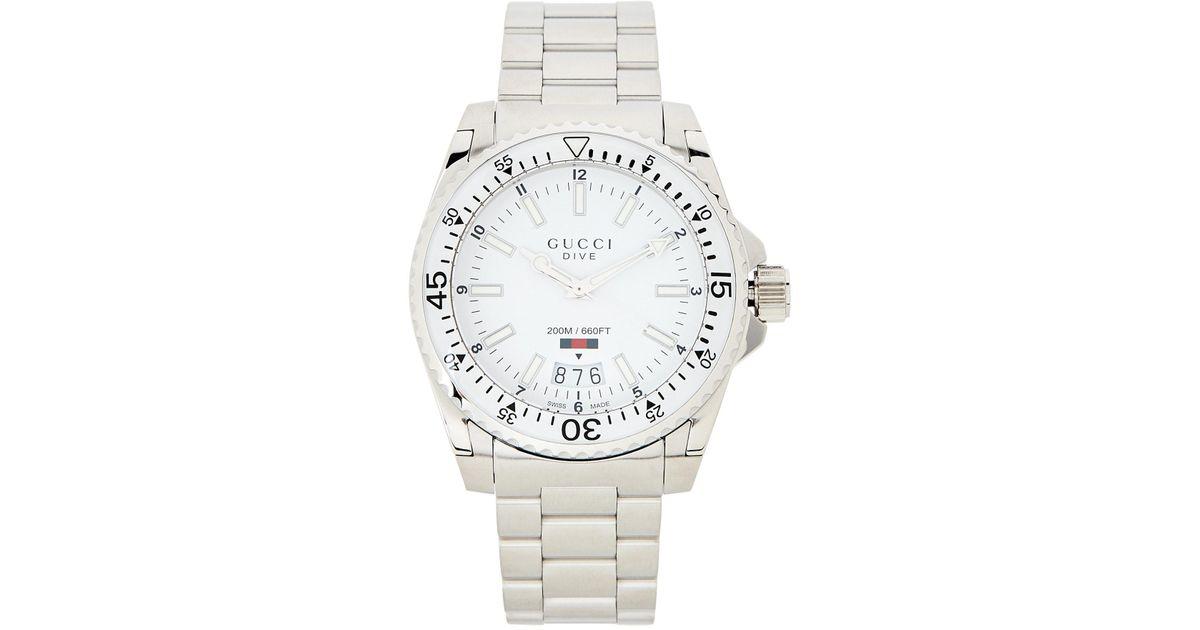 65459add70d Lyst - Gucci Ya136302 Silver-tone   White Dive Watch in Metallic for Men