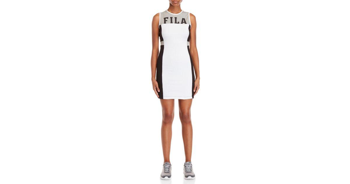 bf41529475fa Lyst - Fila Logo Color Block Tank Dress in White