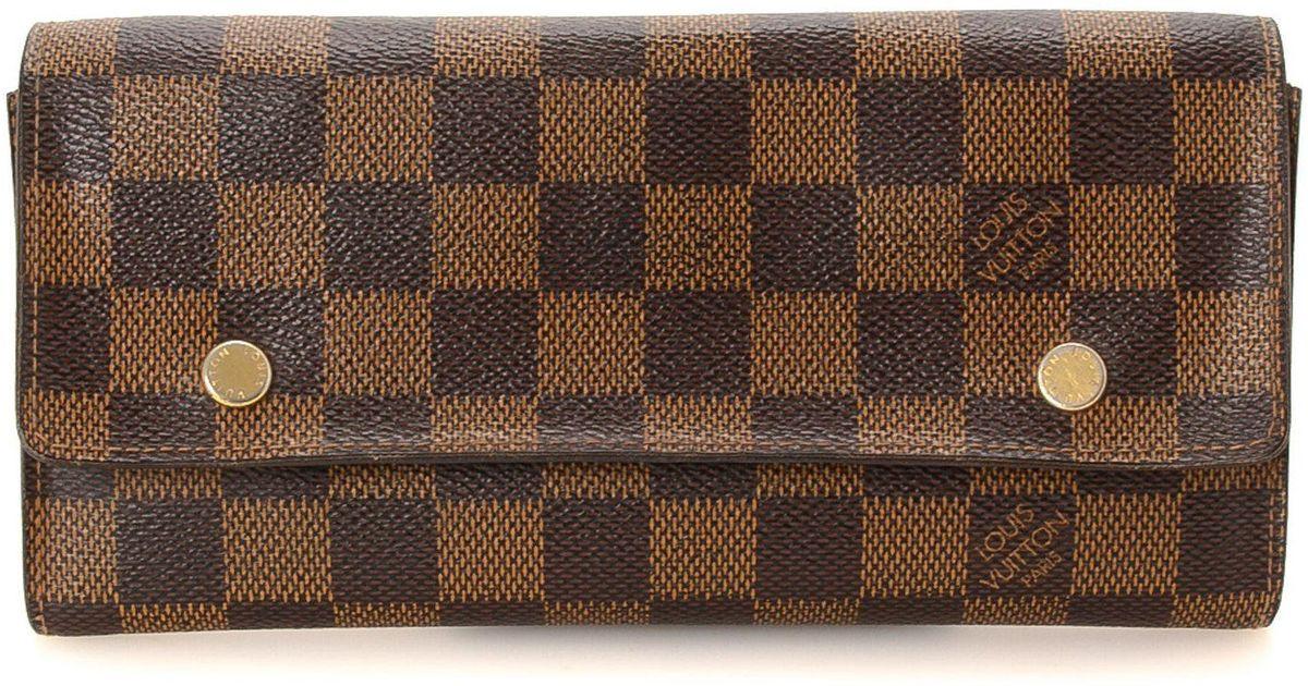 Lyst - Louis Vuitton Adjustable Organiser Damier Ebene Wallet - Vintage in  Brown de2147abe7