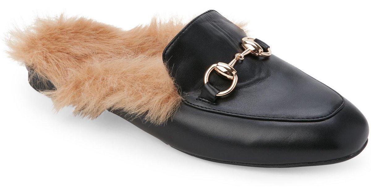 6785f92ef4c Lyst catherine malandrino black pendany faux fur trimmed horsebit mules in  black jpg 1200x630 Catherine malandrino