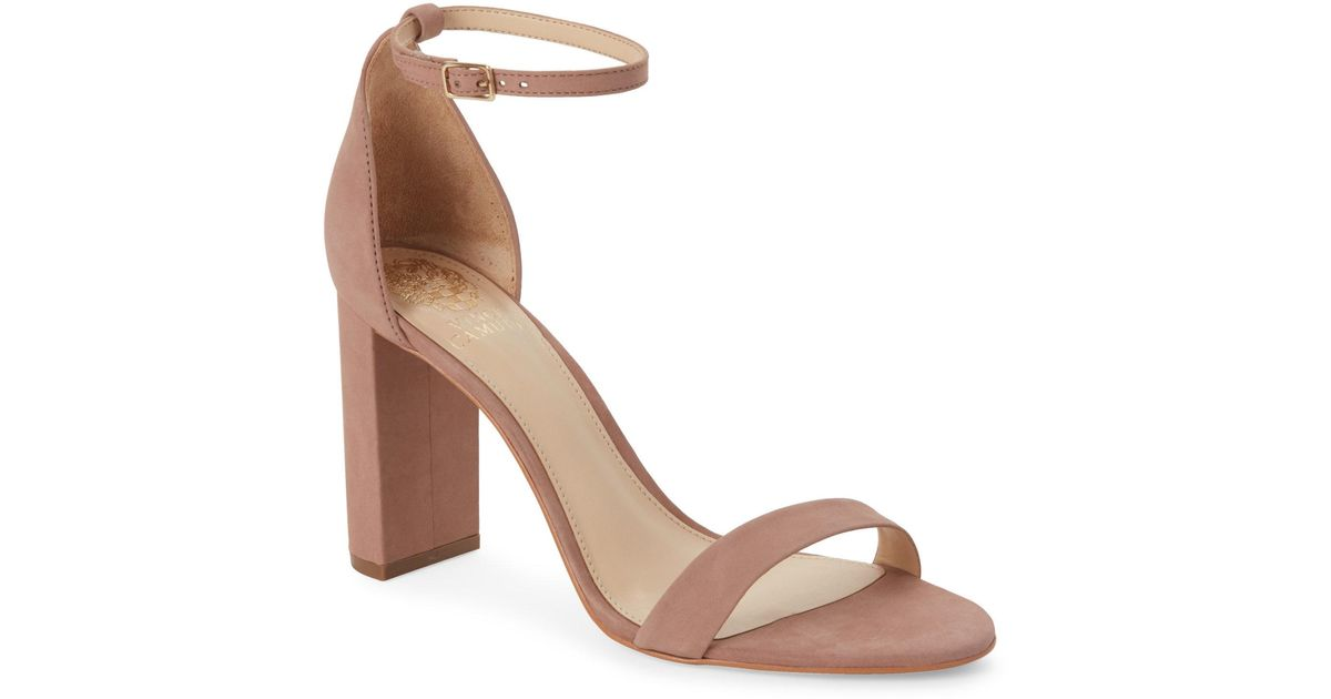 6cdc25f177f Lyst - Vince Camuto Dusty Rose Mairana Block Heel Sandals in Pink
