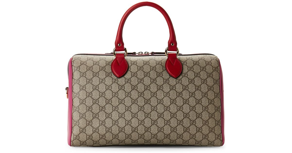 2f53474b7be0 Gucci Hibiscus Red And Pink Leather Gg Supreme Boston Bag in Red - Lyst