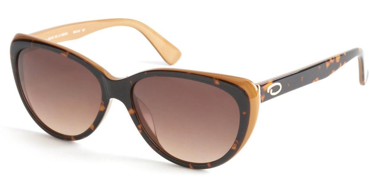 d47a298247 Lyst - Oscar De La Renta Ssc5118 Two-Tone Cat Eye Sunglasses in Brown