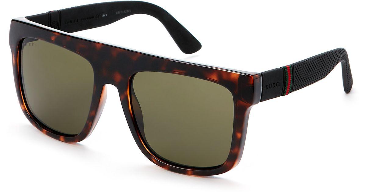 1a3d966d69c Lyst - Gucci Tortoiseshell-Look Gg 1116 S Flat Top Wayfarer Sunglasses in  Brown for Men
