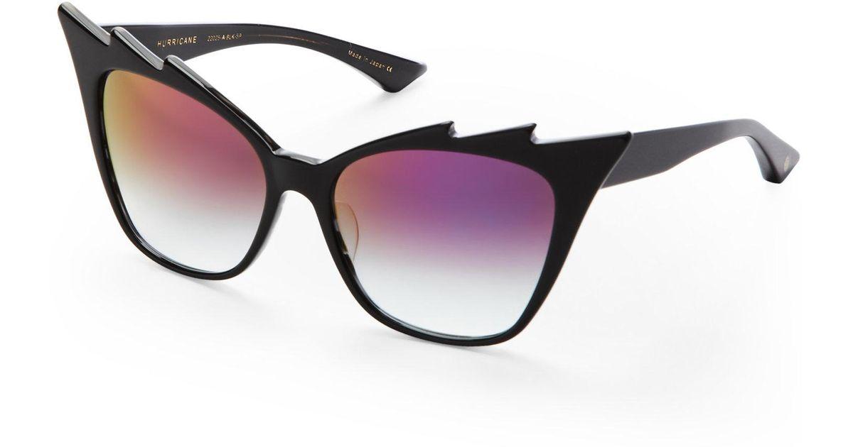 1fc023b72e2 Lyst - Dita Black Hurricane Exaggerated Cat Eye Sunglasses