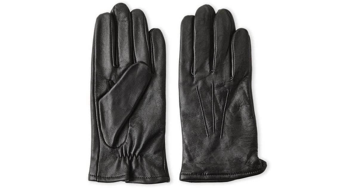 b23876c5e487e Lyst - Fownes Cashmere-Lined Touch Leather Gloves in Black for Men