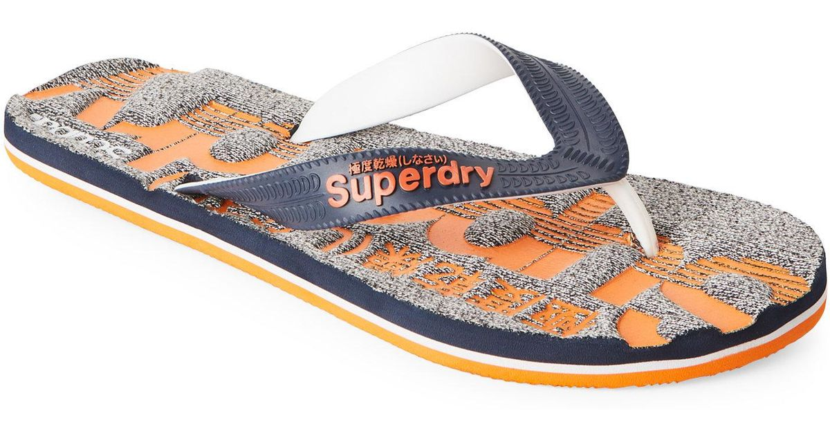0061127b211337 Lyst - Superdry Dark Navy   Orange Marl Scuba Flip Flops in Blue