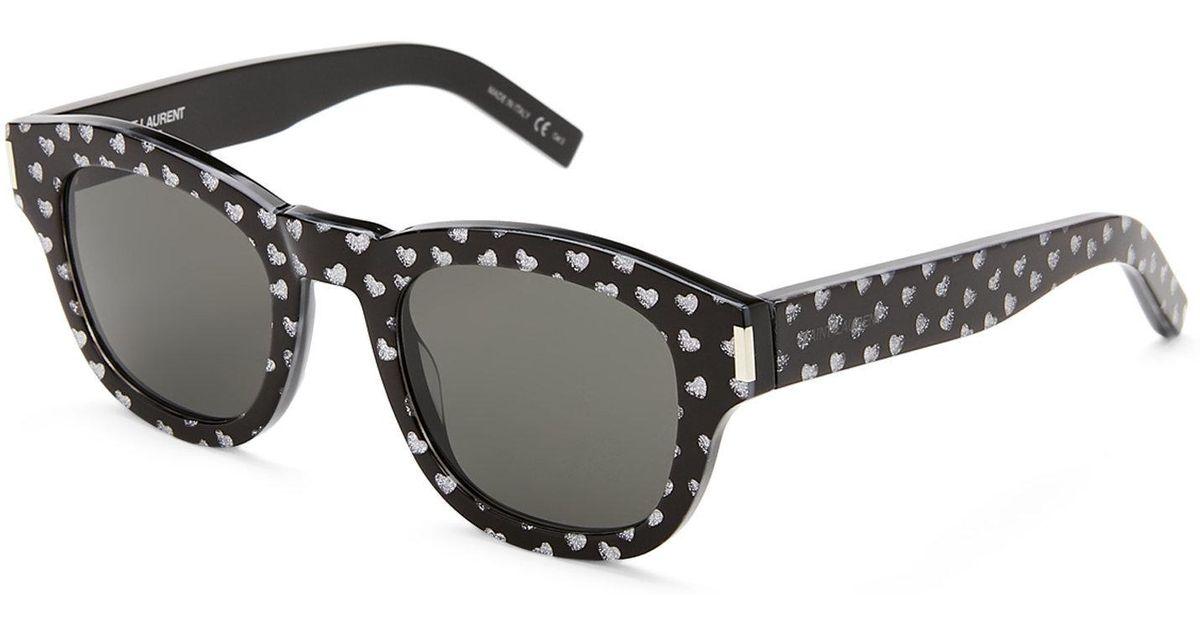 1da0dd4cc21 Saint Laurent Bold2 Heart Print Round Sunglasses - Lyst