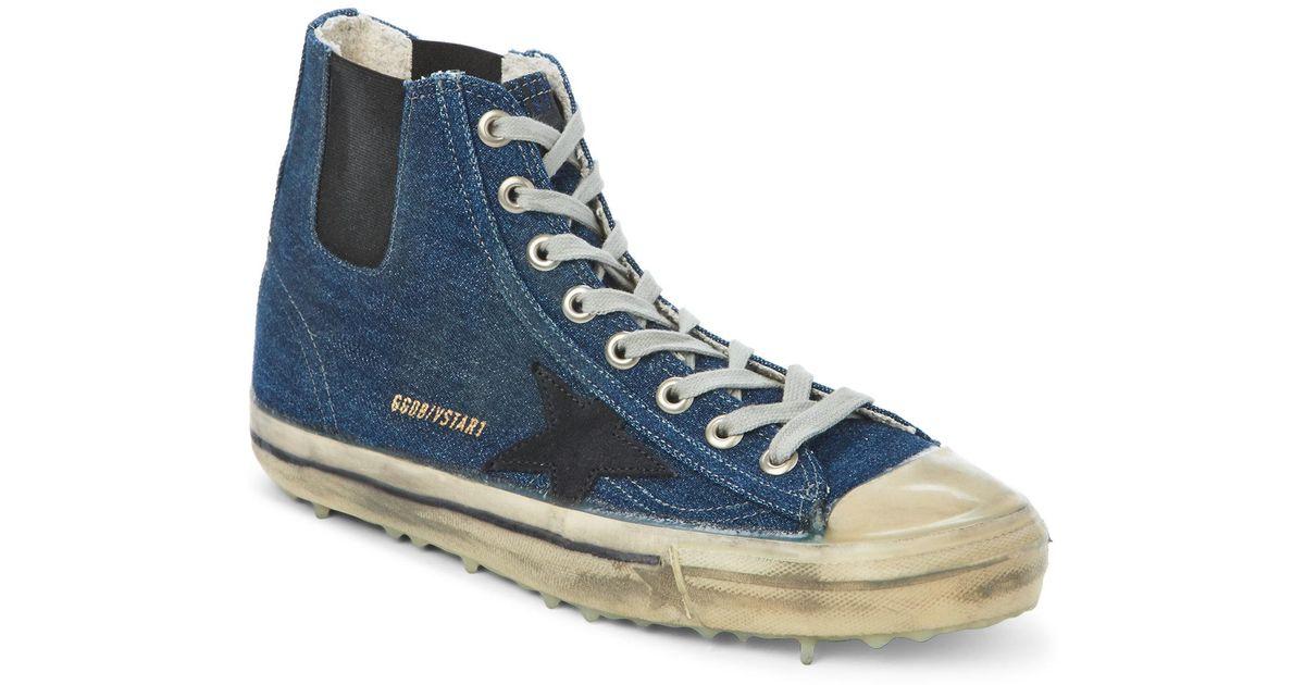 1c21a9afd60fc Lyst - Golden Goose Deluxe Brand Blue V-Star Dip Denim High Top Sneakers in  Blue for Men