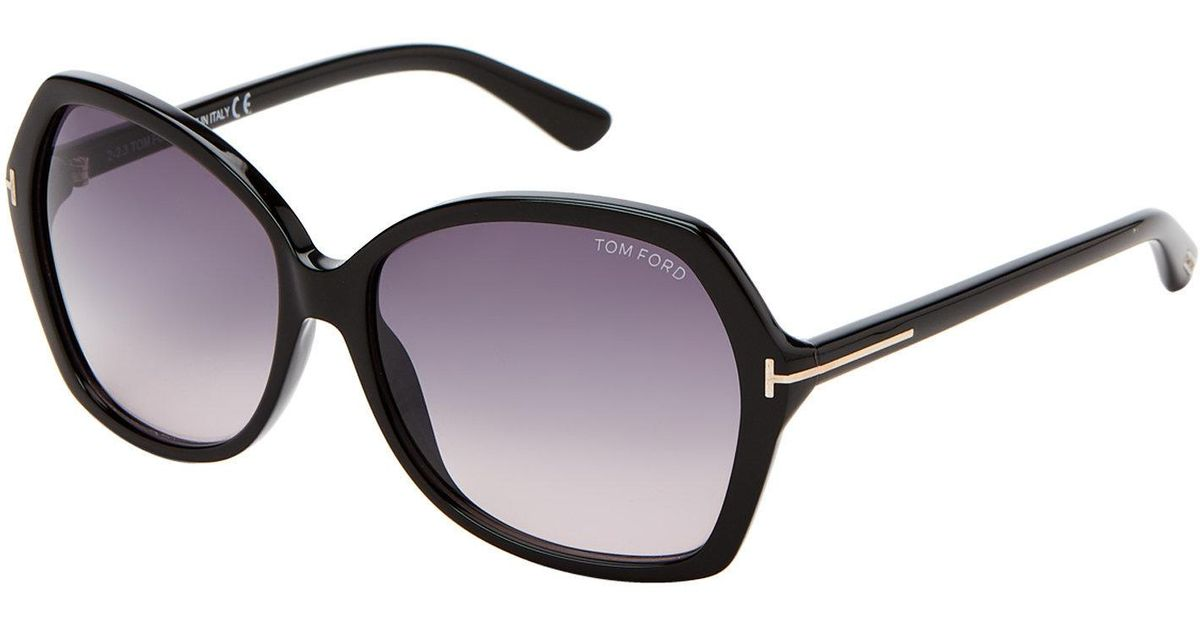 8525be1ad84 Lyst - Tom Ford Tf328 Black Carola Xl Butterfly Sunglasses in Black