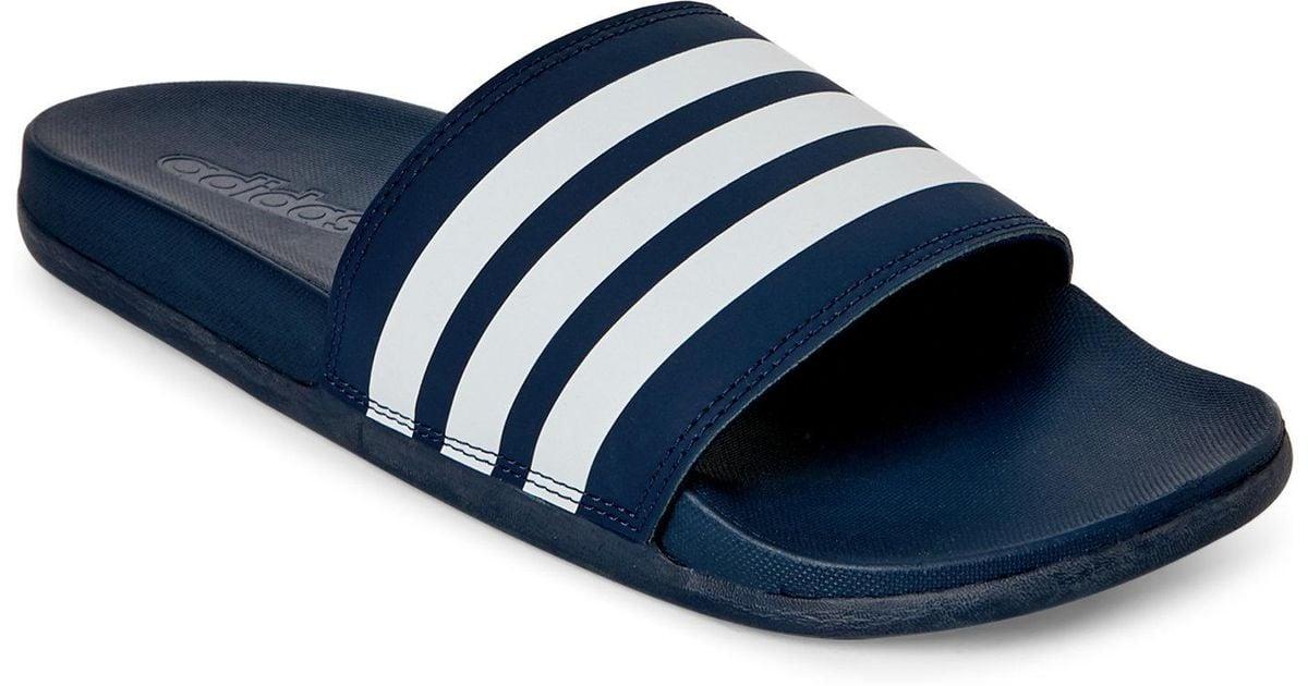 lyst adidas navy white adilette cf stripe slides in blue for men
