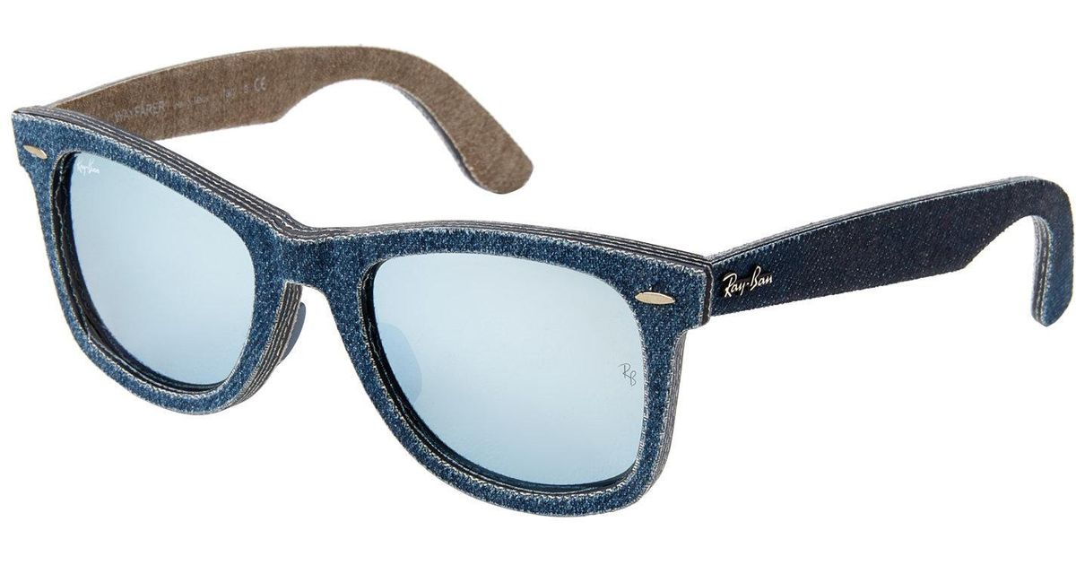 dc4792487be ... coupon code for lyst ray ban rb2140 blue denim wayfarer sunglasses in  blue 012da fe0c7