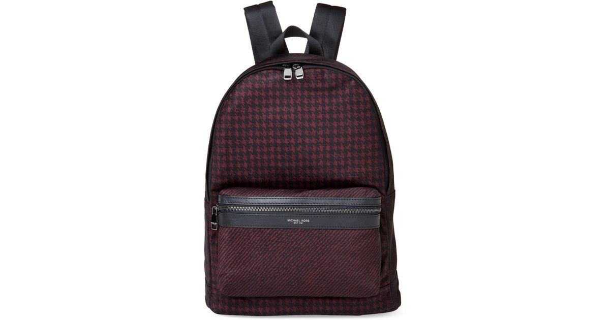174a434fd0c9 Lyst - Michael Kors Black   Merlot Kent Houndstooth Backpack in Black for  Men