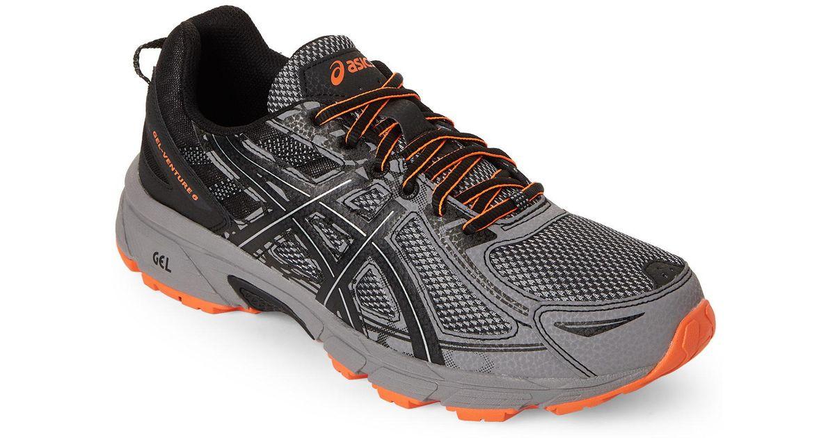 dee3db8fdf94d Lyst - Asics Grey   Black Gel-venture 6 Running Sneakers in Gray