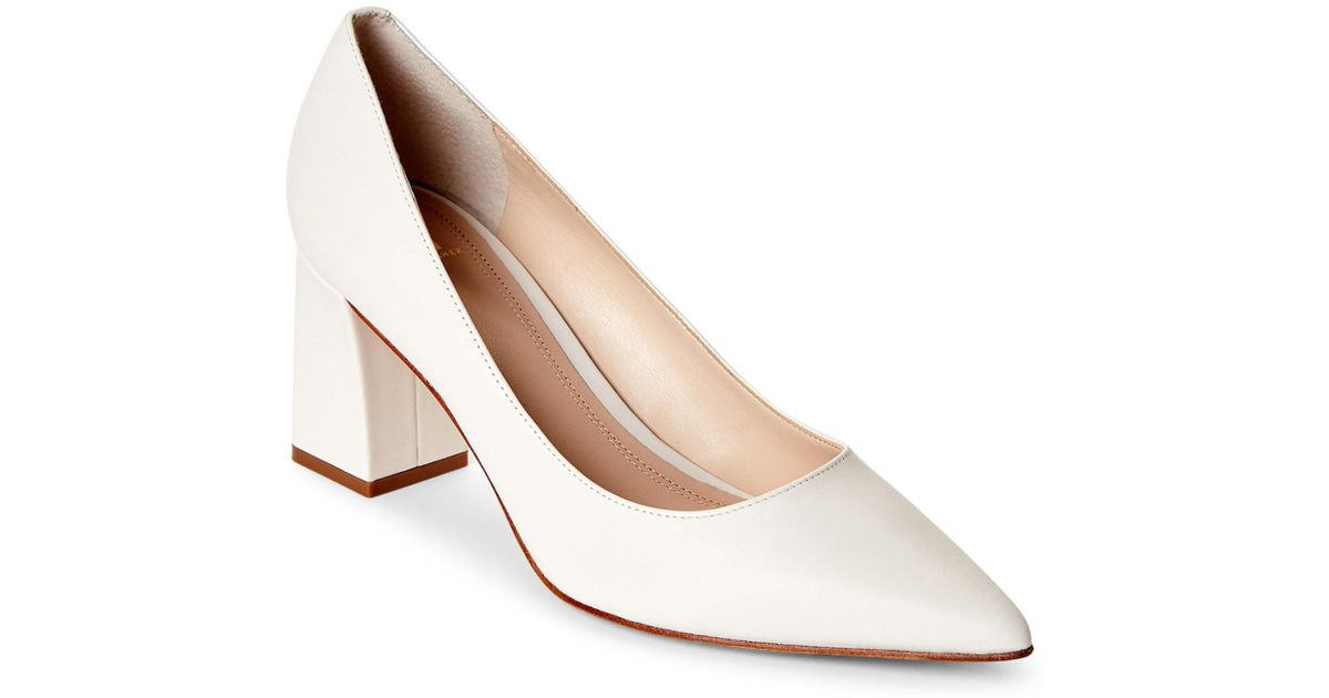 5243c2d980 Marc Fisher Cream Zala Pointed Toe Block Heel Pumps in Natural - Lyst