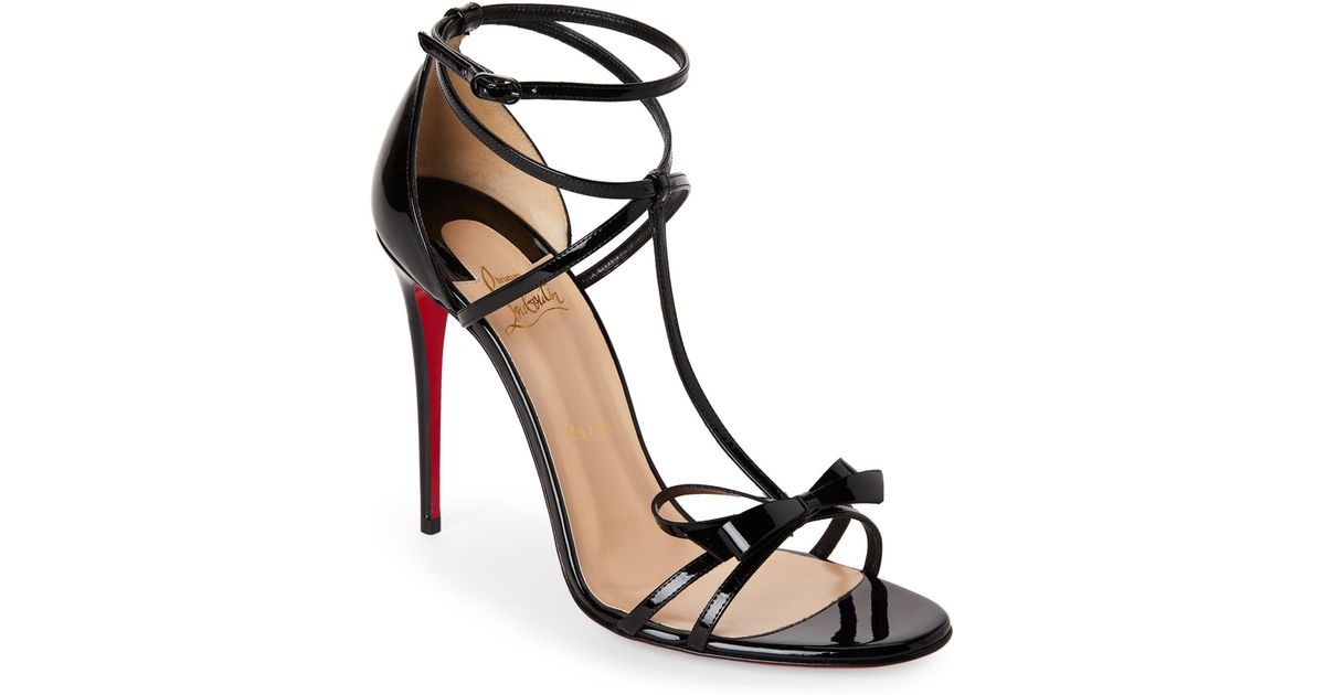 78dd3c1d811d Lyst - Christian Louboutin Black Blakissima Strappy Bow Sandals in Black
