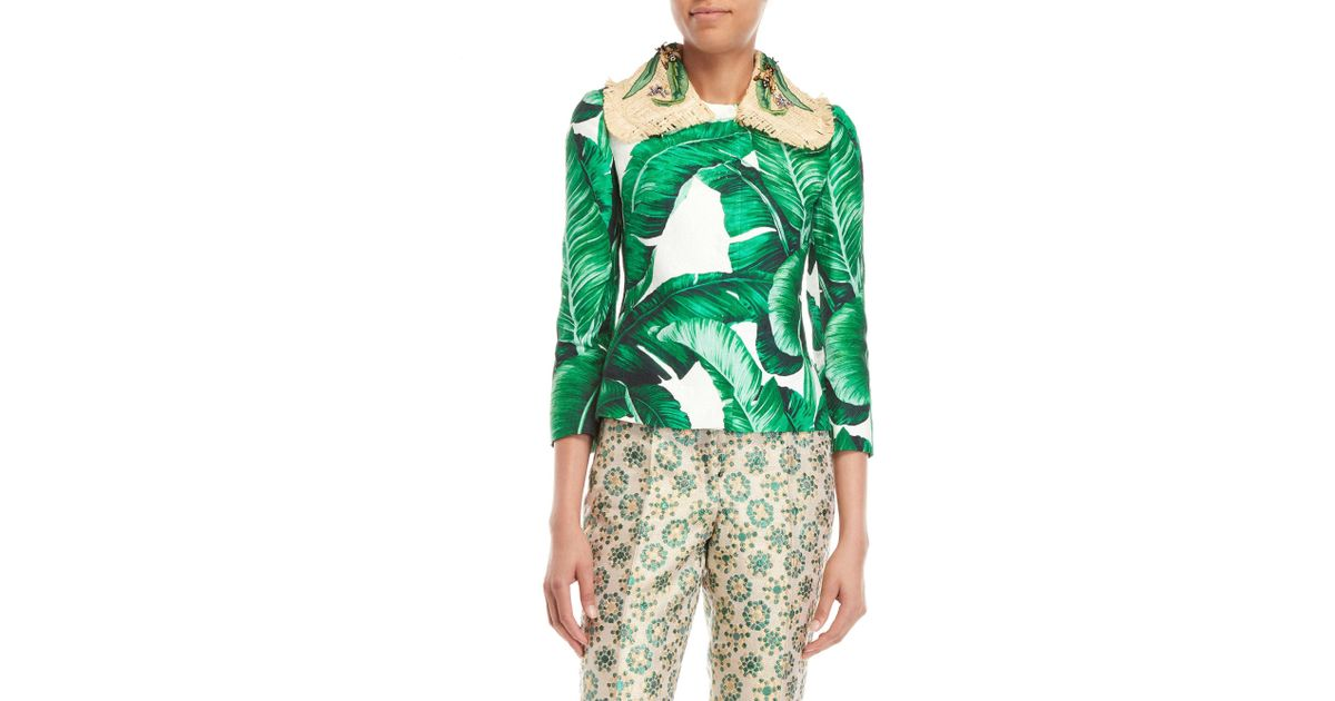 68baa344 Dolce & Gabbana Embellished Banana Leaf Print Jacquard Jacket in Green -  Lyst