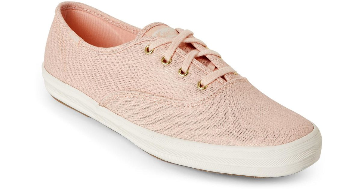 c8d9e22e830a8 Lyst - Keds Rose Gold Champion Metallic Sneakers in Pink