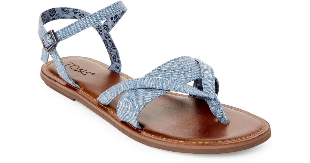 46d5e13aaab1 Lyst - TOMS Blue Lexi Chambray Flat Sandals in Blue