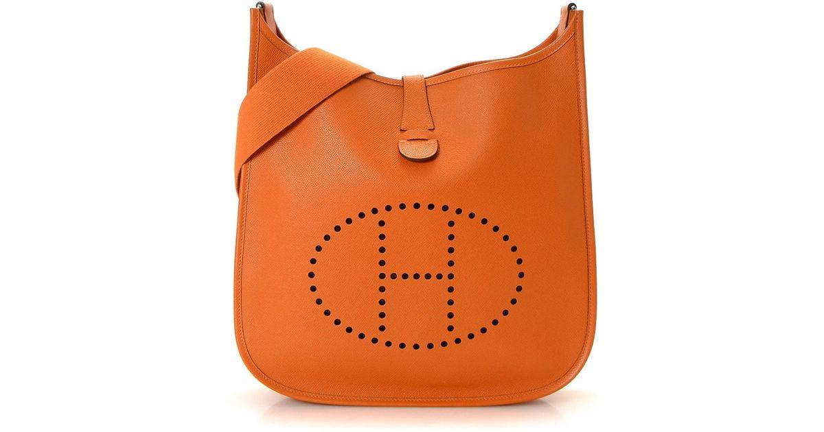 009d5b2b886 ebay hermes orange clemence leather evelyne iii gm bag 07792 6153f; new  zealand lyst hermès evelyne pm crossbody bag vintage in orange b23b3 c507c