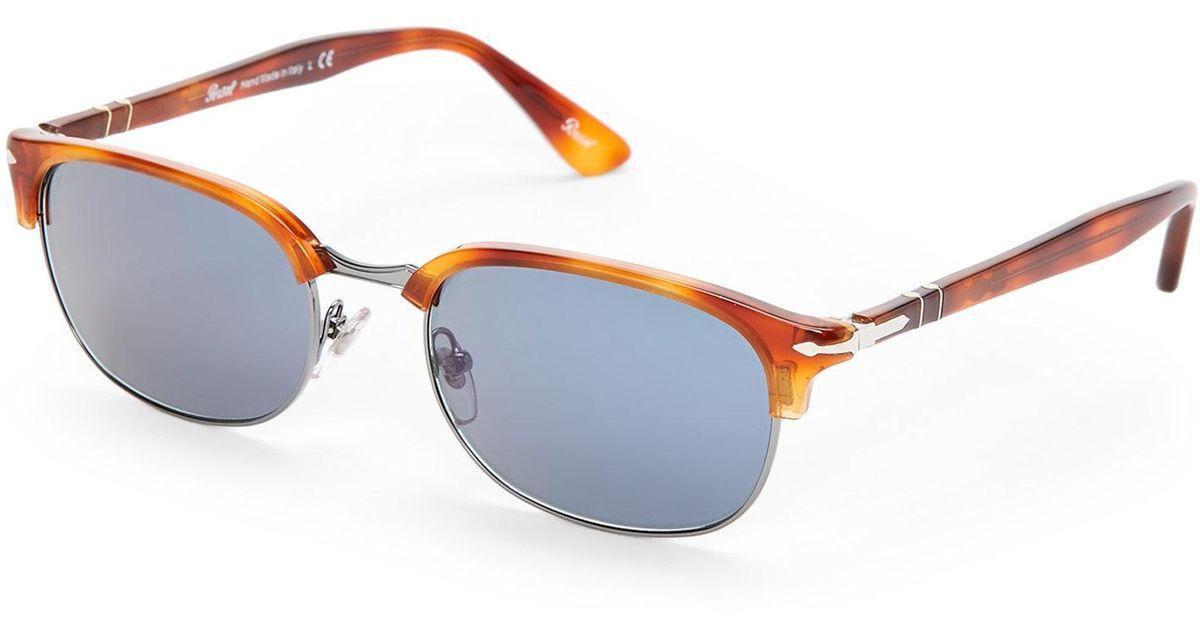 fdb0420252ef0 Persol 8139-S Havana Oval Half-Rim Sunglasses in Blue - Lyst