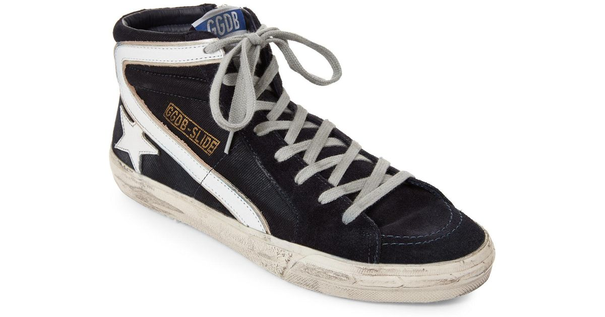 5a5a3b0abf4f3 Lyst - Golden Goose Deluxe Brand Navy Slide Distressed Denim High Top  Sneakers in Blue for Men