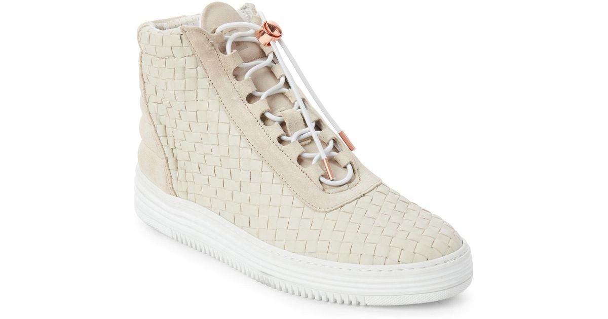 1c6e9e80eaa Lyst filling pieces beige twist woven high top sneakers in natural jpeg  1200x630 Beige high top