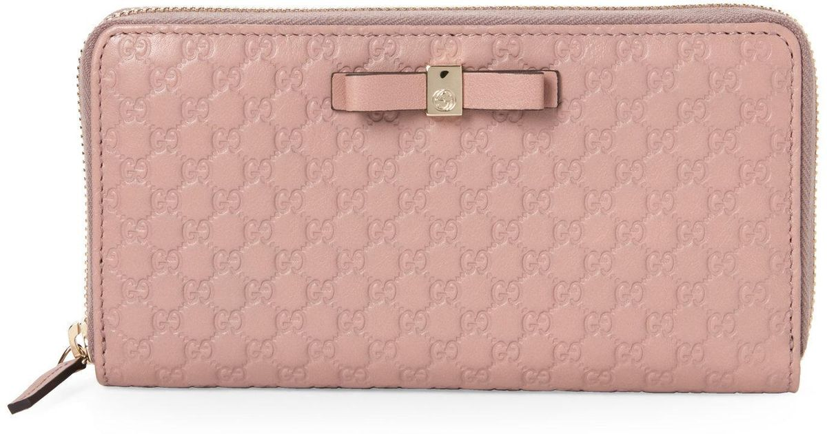 87b98818ef37 Lyst Gucci Light Pink Bow Microssima Leather Zip Around Wallet In